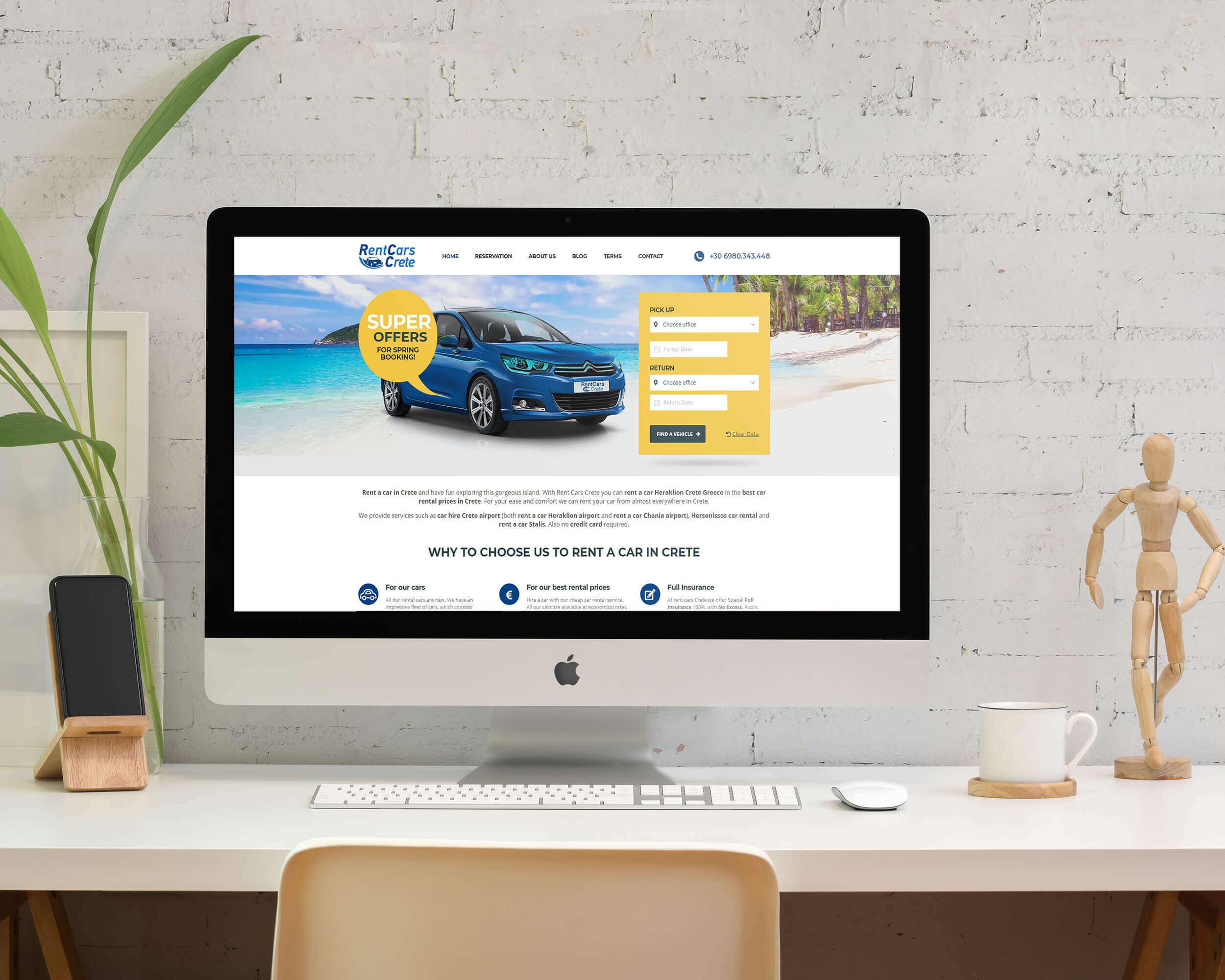 Κατασκευή ιστοσελίδας ενοικιαζόμενων αυτοκινήτων Rent Cars Crete